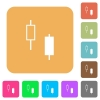 Two candlesticks rounded square flat icons - Two candlesticks flat icons on rounded square vivid color backgrounds.