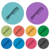 Comb with handle color darker flat icons - Comb with handle darker flat icons on color round background