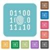 Digital fingerprint rounded square flat icons - Digital fingerprint white flat icons on color rounded square backgrounds