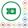 pet shop discount coupon flat icons with outlines - pet shop discount coupon flat color icons in round outlines on white background