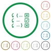 Debugging program flat icons with outlines - Debugging program flat color icons in round outlines on white background
