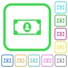 Single banknote  with portrait vivid colored flat icons - Single banknote  with portrait vivid colored flat icons in curved borders on white background