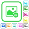 Image histogram vivid colored flat icons in curved borders on white background - Image histogram vivid colored flat icons