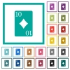 Ten of diamonds card flat color icons with quadrant frames - Ten of diamonds card flat color icons with quadrant frames on white background