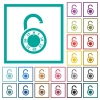 Unlocked round combination lock flat color icons with quadrant frames - Unlocked round combination lock flat color icons with quadrant frames on white background