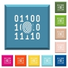 Digital fingerprint white icons on edged square buttons - Digital fingerprint white icons on edged square buttons in various trendy colors