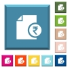 Indian Rupee financial report white icons on edged square buttons - Indian Rupee financial report white icons on edged square buttons in various trendy colors