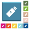 Wireless usb stick white icons on edged square buttons - Wireless usb stick white icons on edged square buttons in various trendy colors