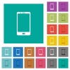 Modern mobile phone with one button square flat multi colored icons - Modern mobile phone with one button multi colored flat icons on plain square backgrounds. Included white and darker icon variations for hover or active effects.