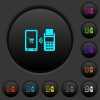 Mobile payment dark push buttons with color icons - Mobile payment dark push buttons with vivid color icons on dark grey background