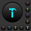 Single hammer dark push buttons with color icons - Single hammer dark push buttons with vivid color icons on dark grey background
