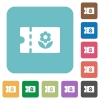 Flower shop discount coupon rounded square flat icons - Flower shop discount coupon white flat icons on color rounded square backgrounds