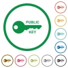Public key flat icons with outlines - Public key flat color icons in round outlines on white background