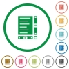 Document with content and scroll bars flat icons with outlines - Document with content and scroll bars flat color icons in round outlines on white background