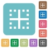 Inner borders rounded square flat icons - Inner borders white flat icons on color rounded square backgrounds