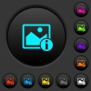 Image info dark push buttons with color icons - Image info dark push buttons with vivid color icons on dark grey background