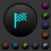 Race flag dark push buttons with color icons - Race flag dark push buttons with vivid color icons on dark grey background