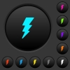 Lightning dark push buttons with color icons - Lightning dark push buttons with vivid color icons on dark grey background