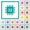 Microprocessor 32 bit architecture flat color icons with quadrant frames - Microprocessor 32 bit architecture flat color icons with quadrant frames on white background