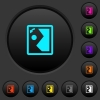 Rotate image left dark push buttons with color icons - Rotate image left dark push buttons with vivid color icons on dark grey background
