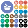 Shopping basket round flat multi colored icons - Shopping basket multi colored flat icons on round backgrounds. Included white, light and dark icon variations for hover and active status effects, and bonus shades.
