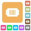 Ticket with barcode rounded square flat icons - Ticket with barcode flat icons on rounded square vivid color backgrounds.
