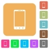 Modern mobile phone with three button rounded square flat icons - Modern mobile phone with three button flat icons on rounded square vivid color backgrounds.
