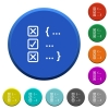 Source code checking beveled buttons - Source code checking round color beveled buttons with smooth surfaces and flat white icons