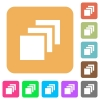 Multiple canvases rounded square flat icons - Multiple canvases flat icons on rounded square vivid color backgrounds.