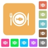 Fish for lunch rounded square flat icons - Fish for lunch flat icons on rounded square vivid color backgrounds.