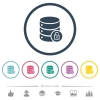 Unlock database flat color icons in round outlines. 6 bonus icons included. - Unlock database flat color icons in round outlines