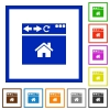 Browser home page flat framed icons - Browser home page flat color icons in square frames on white background