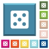 Dice five white icons on edged square buttons - Dice five white icons on edged square buttons in various trendy colors