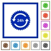 24 hours sticker with arrows flat framed icons - 24 hours sticker with arrows flat color icons in square frames on white background
