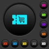 Cart discount coupon dark push buttons with color icons - Cart discount coupon dark push buttons with vivid color icons on dark grey background