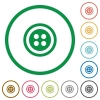 Dress button with 4 holes flat icons with outlines - Dress button with 4 holes flat color icons in round outlines on white background