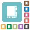 Blank document with scroll bars rounded square flat icons - Blank document with scroll bars white flat icons on color rounded square backgrounds