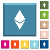 Ethereum digital cryptocurrency white icons on edged square buttons - Ethereum digital cryptocurrency white icons on edged square buttons in various trendy colors