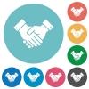 Partnership flat white icons on round color backgrounds - Partnership flat round icons