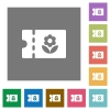 Flower shop discount coupon square flat icons - Flower shop discount coupon flat icons on simple color square backgrounds