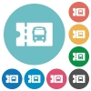 Public transport discount coupon flat round icons - Public transport discount coupon flat white icons on round color backgrounds