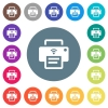 Wireless printer flat white icons on round color backgrounds - Wireless printer flat white icons on round color backgrounds. 17 background color variations are included.