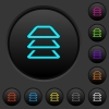 Multiple layers dark push buttons with vivid color icons on dark grey background - Multiple layers dark push buttons with color icons