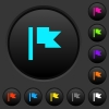 Flag dark push buttons with color icons - Flag dark push buttons with vivid color icons on dark grey background