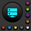 Network drive dark push buttons with color icons - Network drive dark push buttons with vivid color icons on dark grey background