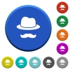 Incognito with mustache beveled buttons - Incognito with mustache round color beveled buttons with smooth surfaces and flat white icons