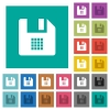 File grid view square flat multi colored icons - File grid view multi colored flat icons on plain square backgrounds. Included white and darker icon variations for hover or active effects.