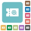 Movie discount coupon rounded square flat icons - Movie discount coupon white flat icons on color rounded square backgrounds