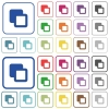 Subtract shapes outlined flat color icons - Subtract shapes color flat icons in rounded square frames. Thin and thick versions included.