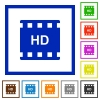 HD movie format flat color icons in square frames on white background - HD movie format flat framed icons